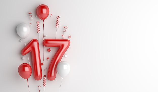 Fundo de decoração do dia da independência da indonésia com foguete número de fogos de artifício com 17 balões