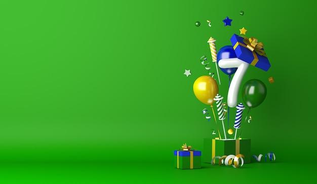 Fundo de decoração do dia da independência do brasil com caixa de presente aberta com 7 números de balão