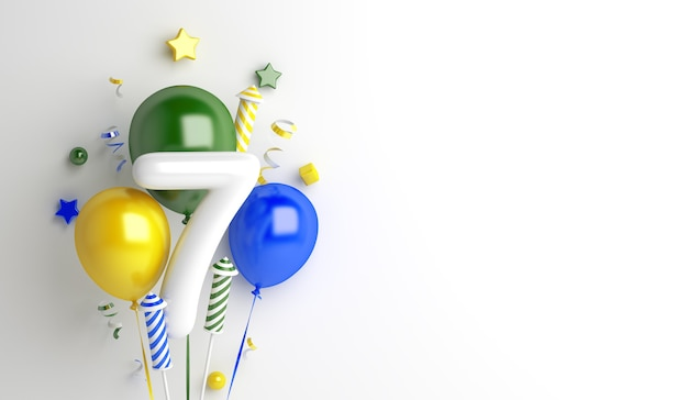 Fundo de decoração do dia da independência do brasil com fogos de artifício de 7 números de balão