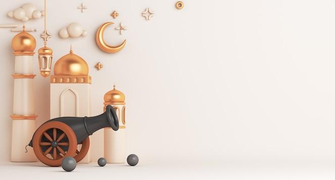 Fundo de decoração islâmica com cópia crescente da lanterna árabe da mesquita de canhão