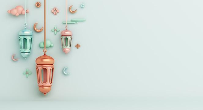 Fundo de decoração islâmica com espaço de cópia crescente da lanterna árabe