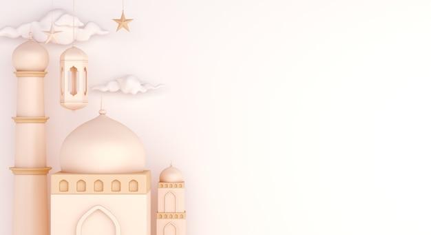 Fundo de decoração islâmica com espaço de cópia de lanterna árabe de mesquita