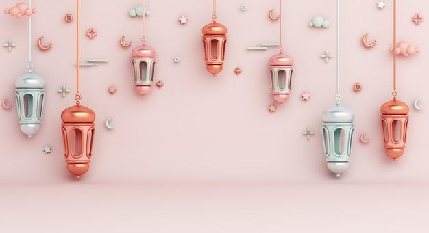 Fundo de decoração islâmica com espaço de cópia de lanterna árabe