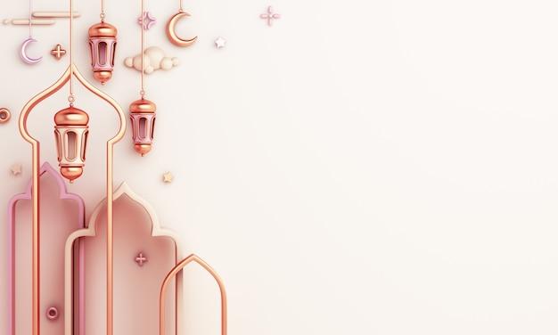 Fundo de decoração islâmica com espaço de cópia em crescente da lanterna da moldura da janela árabe