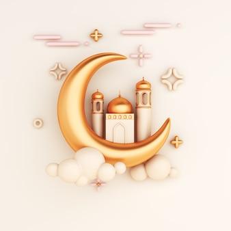Fundo de decoração islâmica com estilo de desenho animado crescente e mesquita