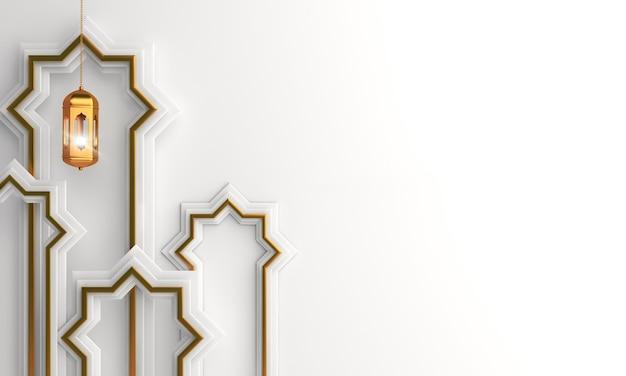 Fundo de decoração islâmica com janela de lanterna