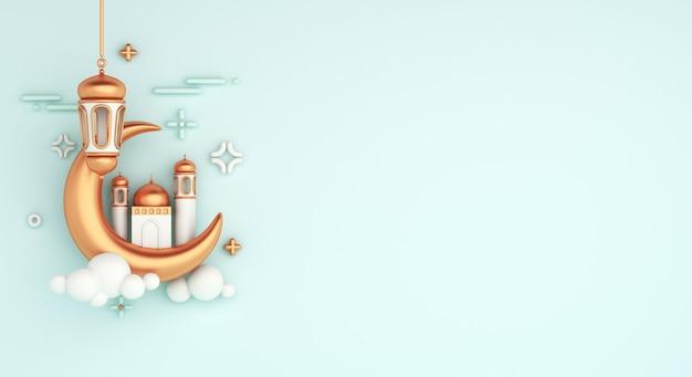 Fundo de decoração islâmica com lanterna árabe de mesquita crescente