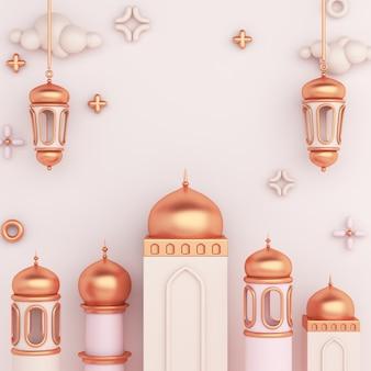 Fundo de decoração islâmica com lanterna árabe e mesquita