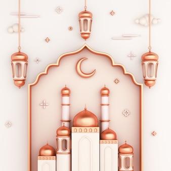 Fundo de decoração islâmica com lanterna de janela árabe de mesquita