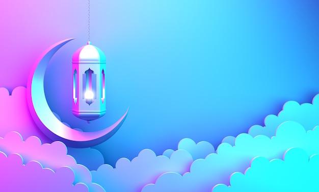Fundo de decoração islâmica com lanterna em forma de lua crescente