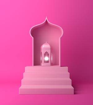 Fundo de decoração islâmica com lanterna
