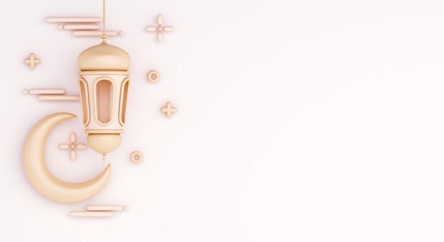 Fundo de decoração islâmica com lua crescente e lanterna árabe
