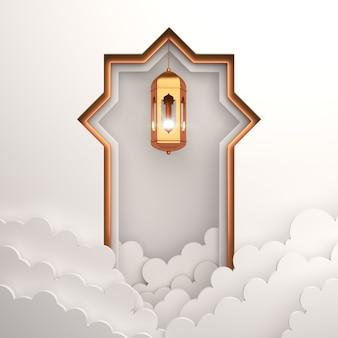 Fundo de decoração islâmica com nuvem de lanterna