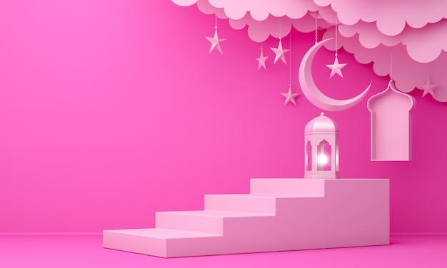 Fundo de decoração islâmica com passo de lanterna em forma de lua crescente