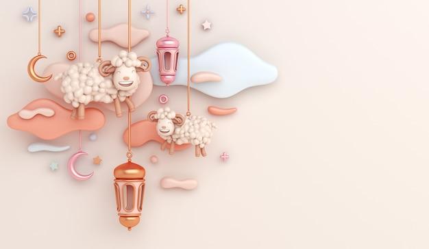 Fundo de decoração islâmica eid al adha com meia lua crescente de ovelha cabra.