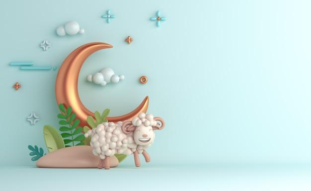 Fundo de decoração islâmica eid al adha com meia-lua de ovelha