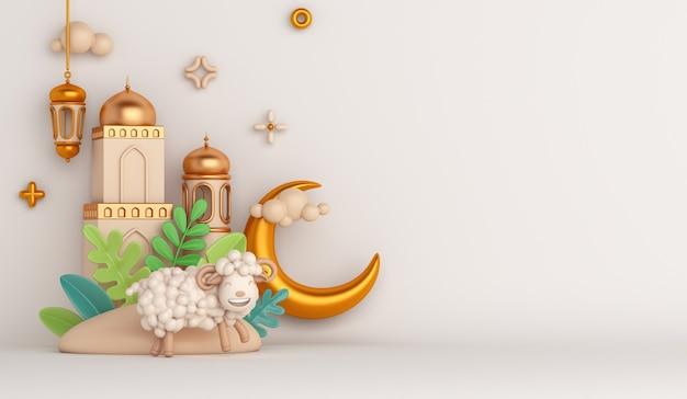 Fundo de decoração islâmica eid al adha com mesquita de cabra ovelha lanterna árabe crescente