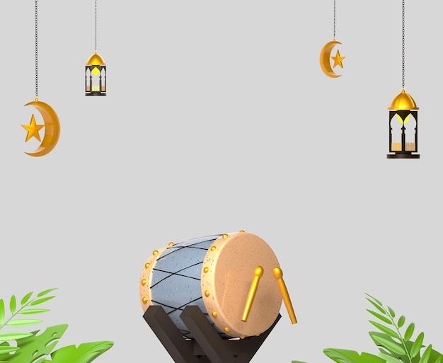 Fundo de decoração islâmica ramadan kareem com lanterna e tambor de cama