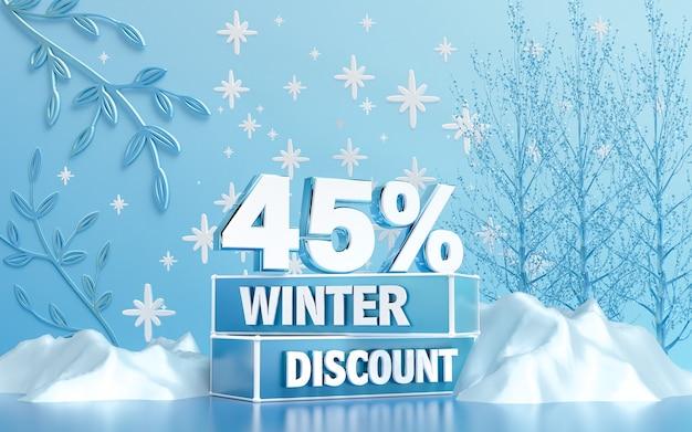 Fundo de desconto especial de temporada de inverno para banner de mídia social ou renderização em 3d de pôster