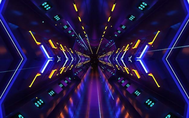 Fundo de desenho de movimento colorido com padrão simétrico. sci-fi abstrato com partículas de brilho formam linhas, superfícies, holograma ou espaço digital virtual.