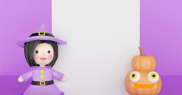 Fundo de dia das bruxas com abóboras e bruxa. renderização em 3d