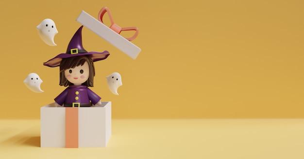 Fundo de dia das bruxas com bruxa bonita em pé em uma caixa e fantasma.