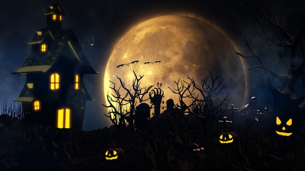 Fundo de dia das bruxas com casa assombrada, fantasma, morcegos e abóboras
