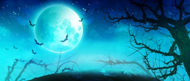 Fundo de dia das bruxas com cemitério em uma noite assustadora.