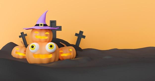 Fundo de dia das bruxas com renderização em 3d abóbora