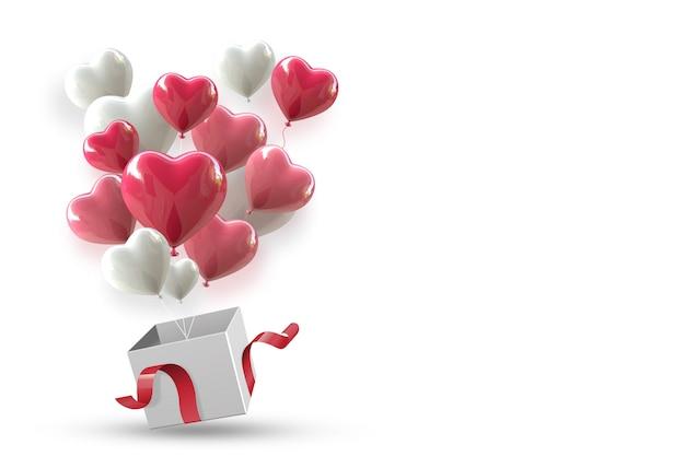 Fundo de dia dos namorados com coração renderização 3d de balão flutuando fora da caixa.