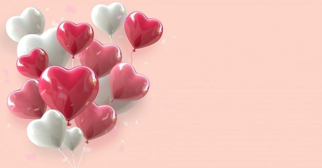 Fundo de dia dos namorados com coração renderização 3d de balão flutuando no rosa