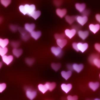 Fundo de dia dos namorados com um design de corações de bokeh