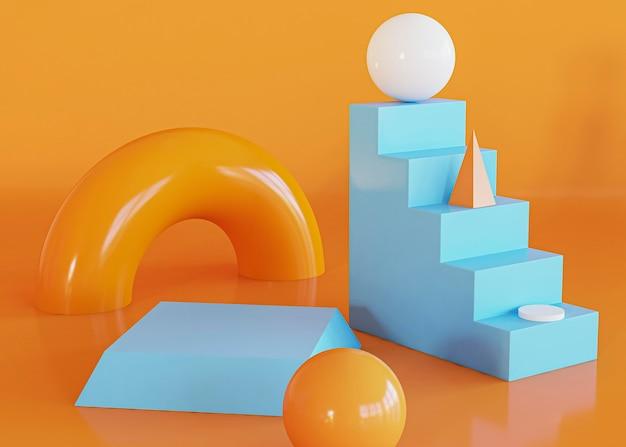 Fundo de escadas e formas geométricas abstratas