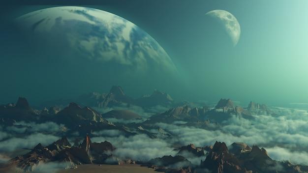 Fundo de espaço 3d com planetas fictícios