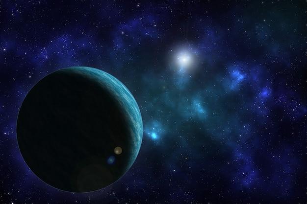 Fundo de espaço com o planeta.