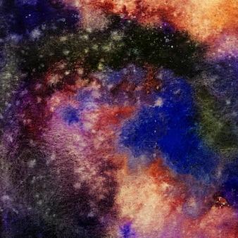 Fundo de espaço de pintura em aquarela, pintura de mão em aquarela de galáxia abstrata