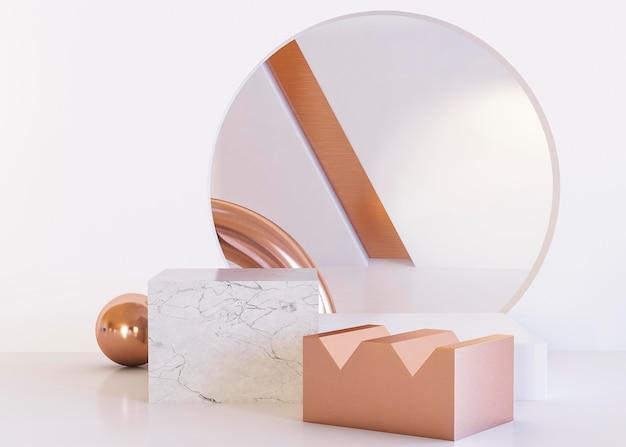 Fundo de espelho e formas geométricas