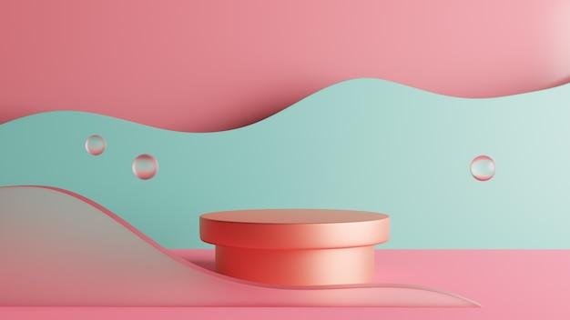 Fundo de estágio de pódio de renderização 3d abstrata com halteres. foto premium