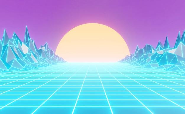 Fundo de estilo anos 80 de néon