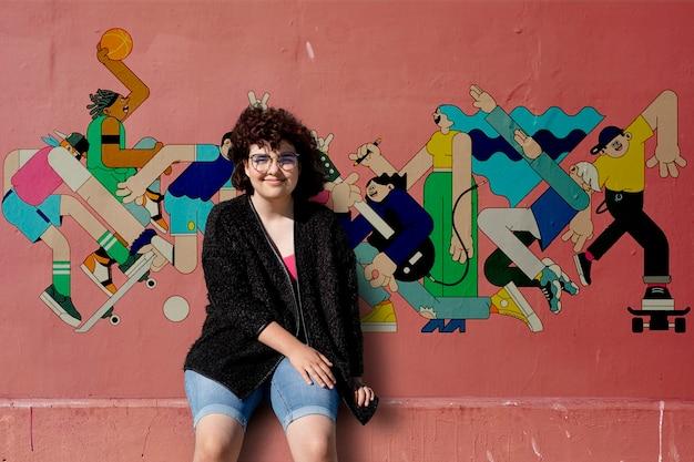 Fundo de estilo de vida jovem, menina adolescente com gráficos