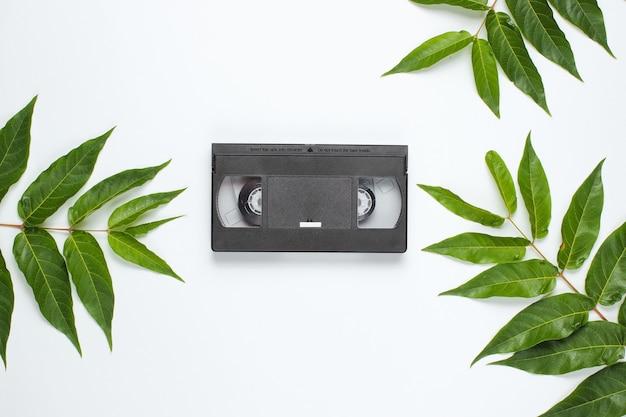 Fundo de estilo retro. vídeo vhs entre folhas verdes tropicais em fundo branco. vista do topo