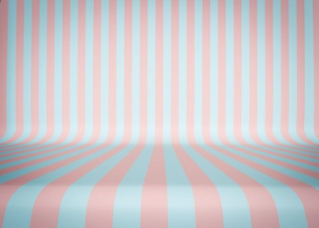 Fundo de estúdio listrado, glamoroso. listras rosa e azuis. ilustração 3d. render.