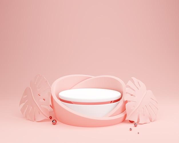 Fundo de exibição de pódio rosa pastel abstrato para apresentação de produtos cosméticos.