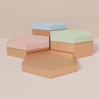 Fundo de exibição de produto de luxo com renderização em 3d para produtos de beleza e cuidados com a saúde para a pele ou mel