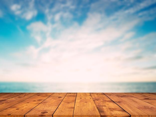 Fundo de exibição de produto de piso de madeira marrom à beira-mar