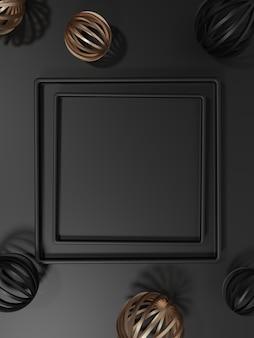 Fundo de exibição de produto de placas quadradas festivas de renderização 3d para produtos de beleza e saúde cuidados com a pele, alimentos e bebidas preto e dourado