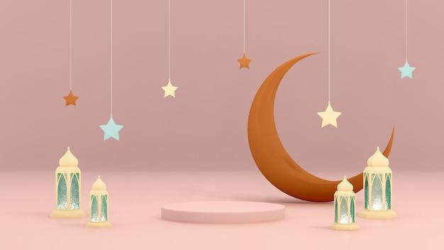 Fundo de exibição de produto de tema árabe 3d islâmico para anúncio com estrelas da lua e lâmpada árabe