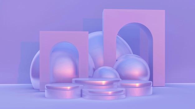 Fundo de exposição abstrato mínimo com formas geométricas e etapas.