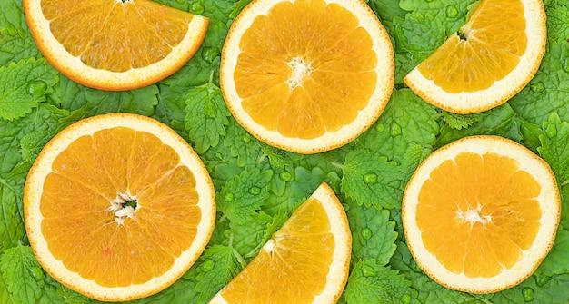 Fundo de fatias de laranjas na superfície de folhas de hortelã