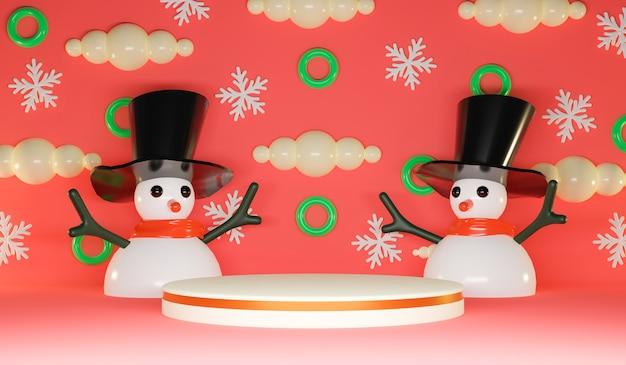 Fundo de feliz natal com boneco de neve bonito e pódio de exibição de círculo. renderização 3d